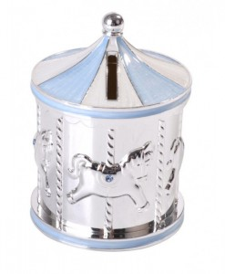 baby carousel money box blue
