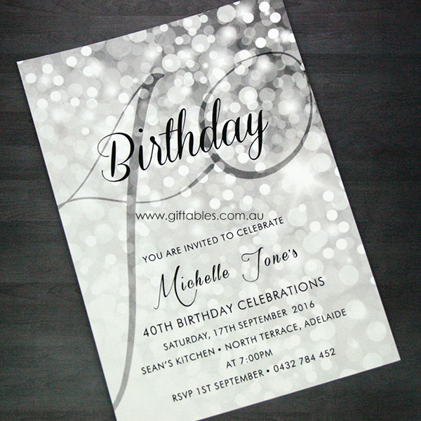 40th Birthday Invite Sparkle