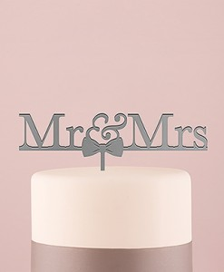 4463-77_mr-and-mrs-bow-tie-metallic-silver-acrylic-cake-topper