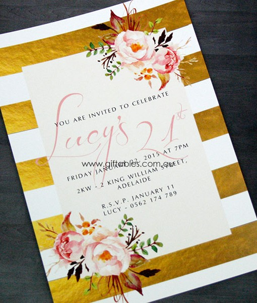 birthday invitation gold foiled floral giftables