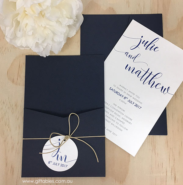 Love Notes Open Pocket Invitation Navy Giftables