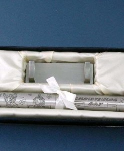 christening certificate holder pewter