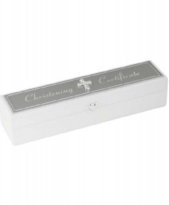 christening certificate holder white