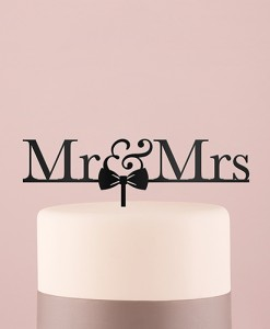 mr & mrs cake topper black