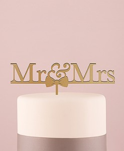 mr & mrs cake topper gold